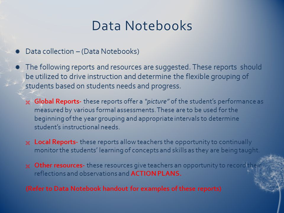 Data Notebooks Data collection – (Data Notebooks)