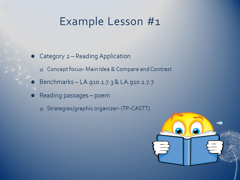 Example Lesson #1 Category 2 – Reading Application