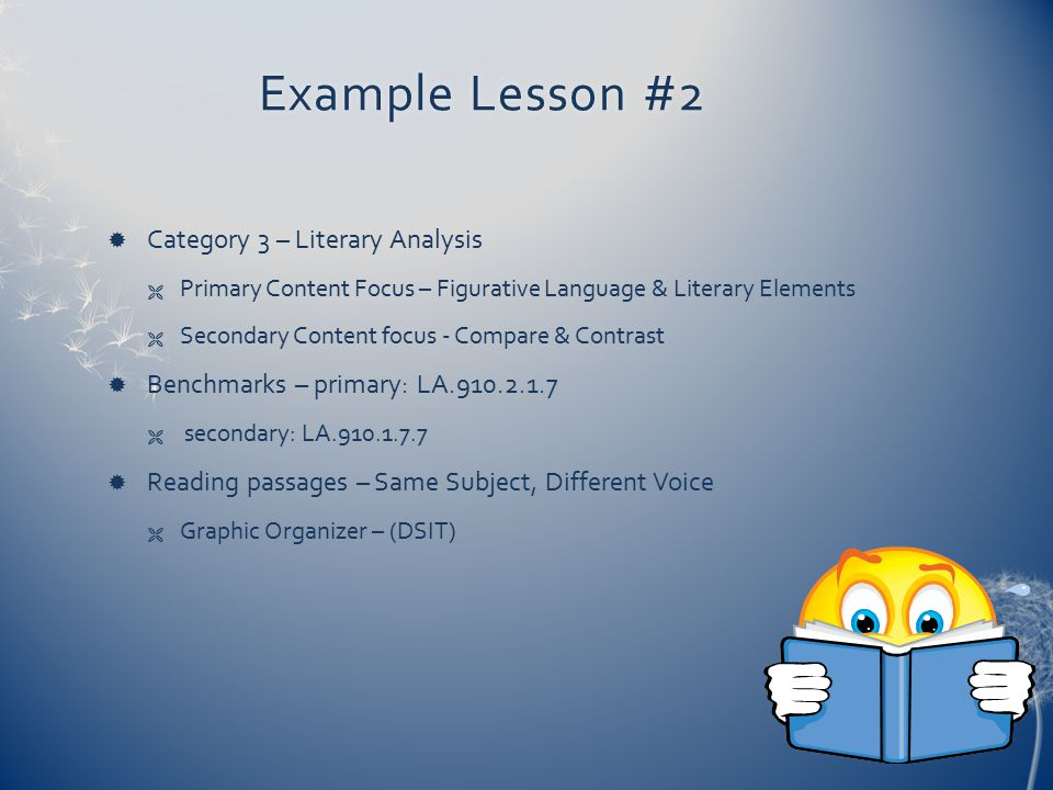 Example Lesson #2 Category 3 – Literary Analysis
