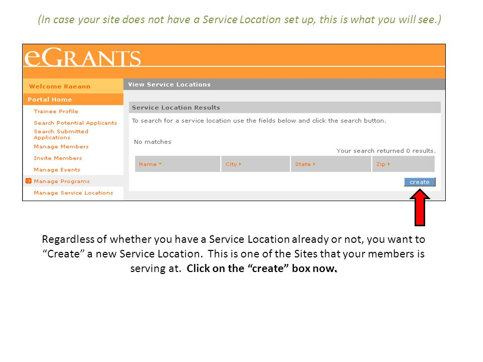 (In case your site does not have a Service Location set up, this is what you will see.)