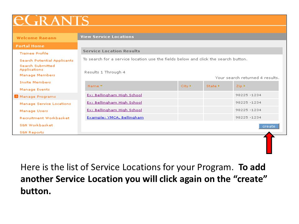 Here is the list of Service Locations for your Program