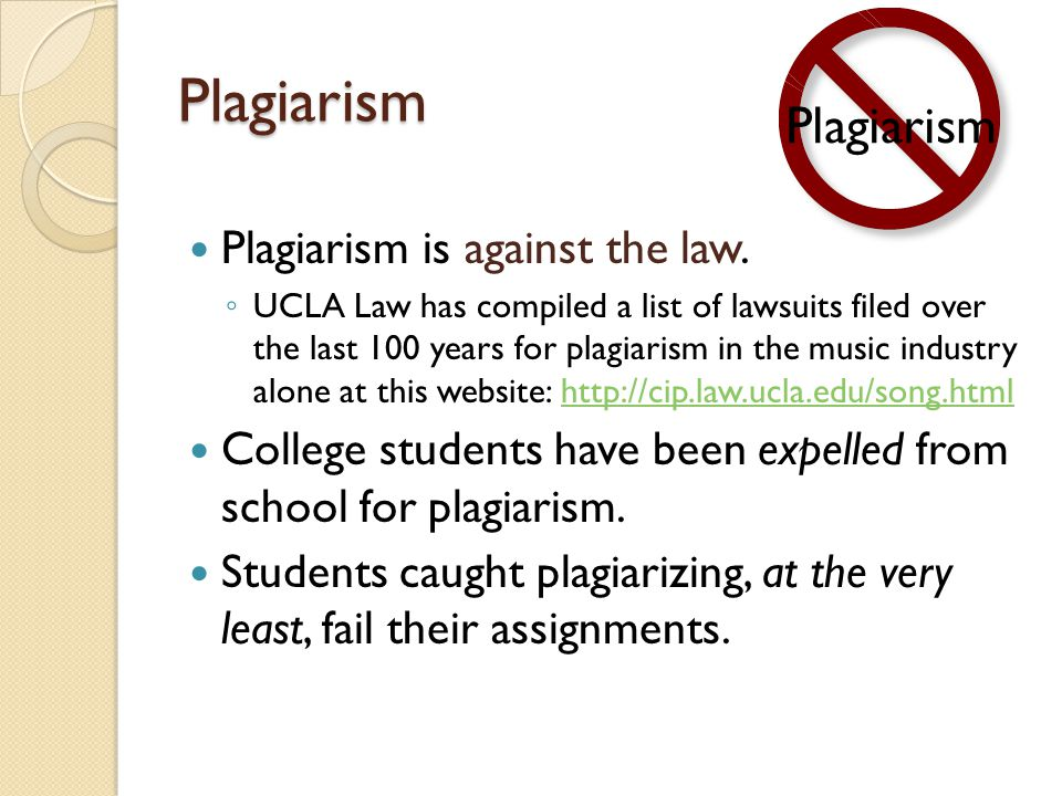 Plagiarism Plagiarism Plagiarism is against the law.