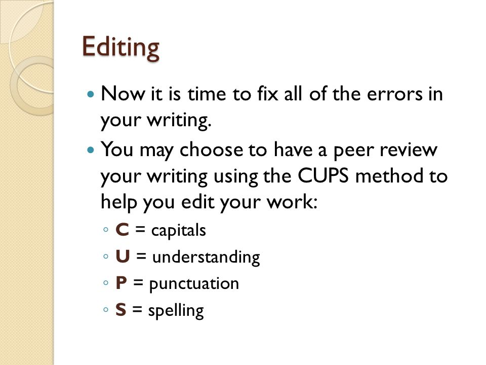 Editing Now it is time to fix all of the errors in your writing.
