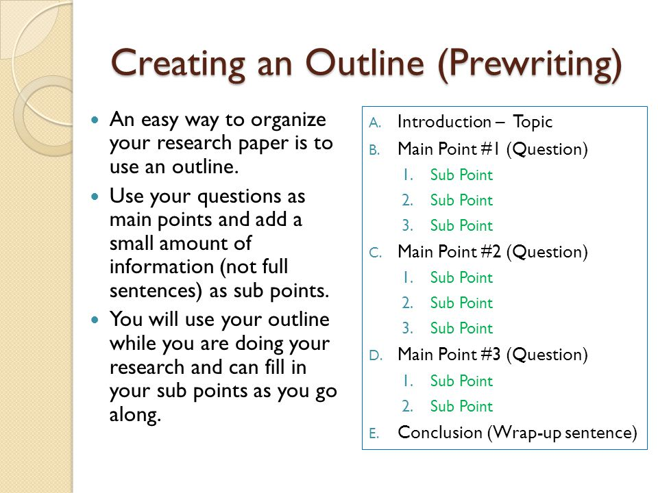 Creating an Outline (Prewriting)