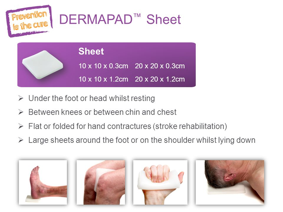 DERMAPAD™ Sheet Sheet Under the foot or head whilst resting