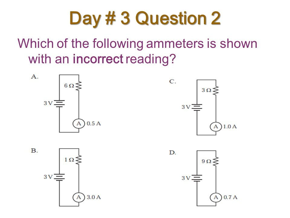 Day # 3 Question 2 Which of the following ammeters is shown with an incorrect reading