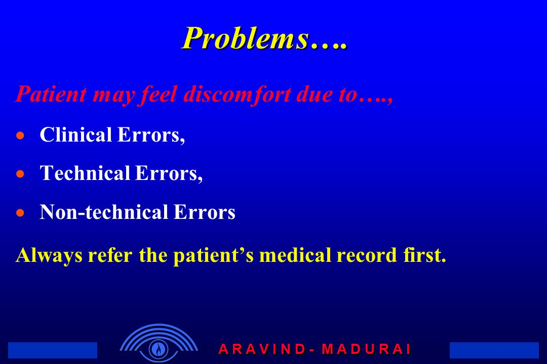 Problems…. Patient may feel discomfort due to…., Clinical Errors,