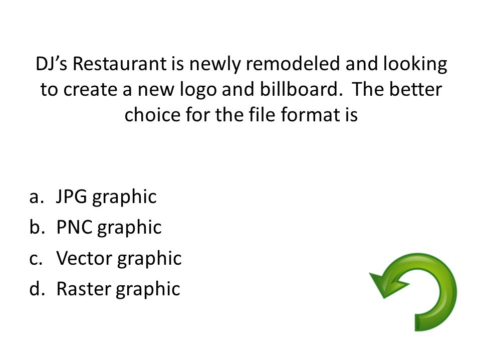 DJ's Restaurant is newly remodeled and looking to create a new logo and billboard. The better choice for the file format is