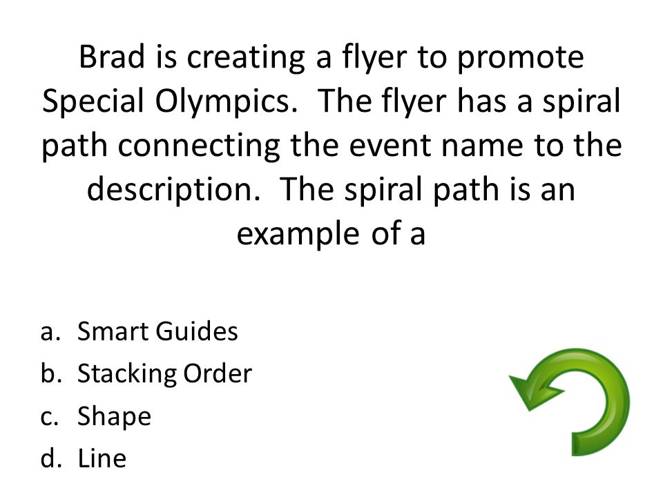 Brad is creating a flyer to promote Special Olympics