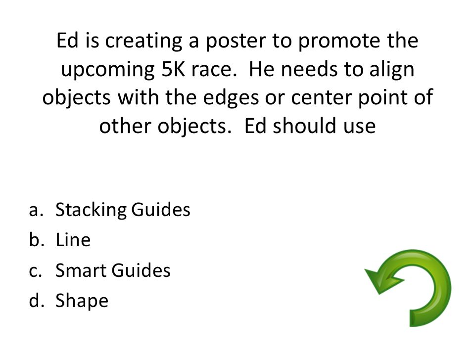 Ed is creating a poster to promote the upcoming 5K race