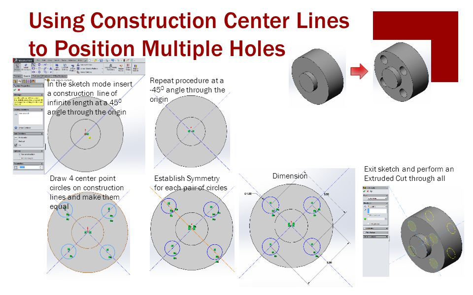 Using Construction Center Lines to Position Multiple Holes