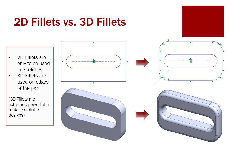 2D Fillets vs. 3D Fillets 2D Fillets are only to be used in Sketches