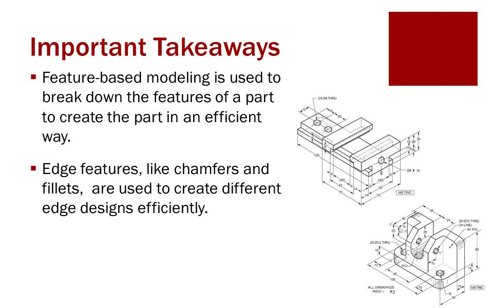 Important Takeaways Feature-based modeling is used to break down the features of a part to create the part in an efficient way.