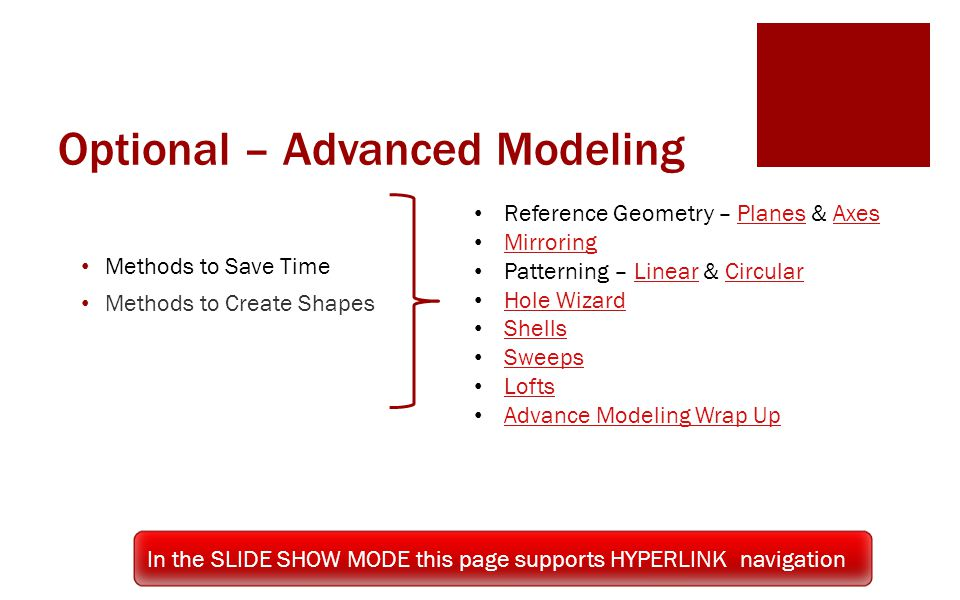 Optional – Advanced Modeling
