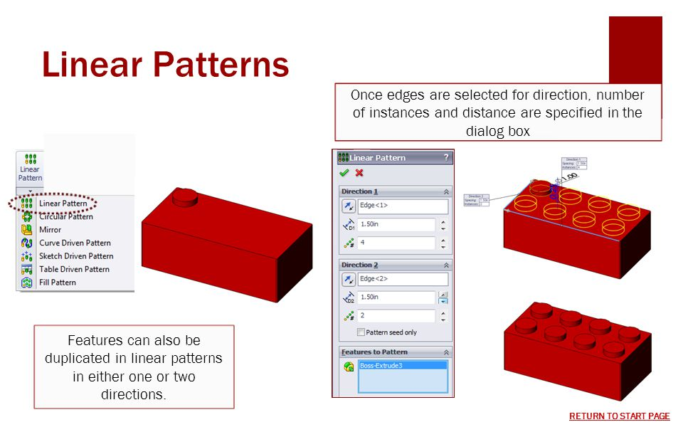 Linear Patterns Once edges are selected for direction, number of instances and distance are specified in the dialog box.