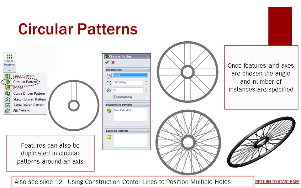 Features can also be duplicated in circular patterns around an axis