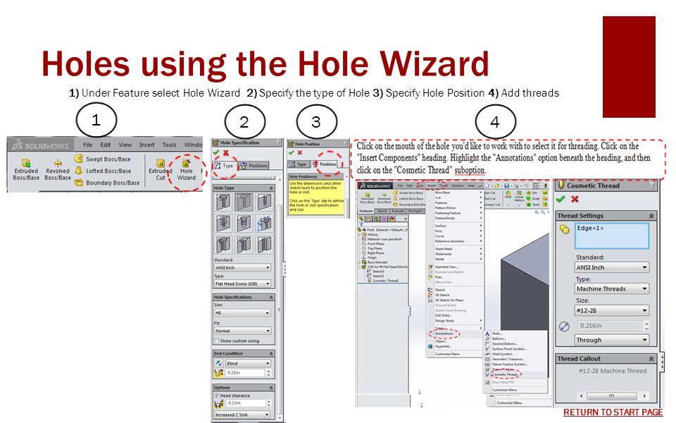 Holes using the Hole Wizard