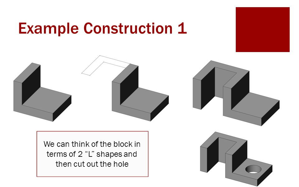 Example Construction 1 We can think of the block in terms of 2 L shapes and then cut out the hole