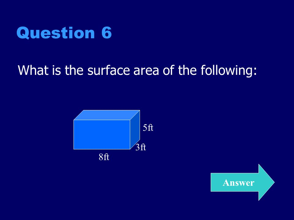 Question 6 What is the surface area of the following: 5ft 3ft 8ft