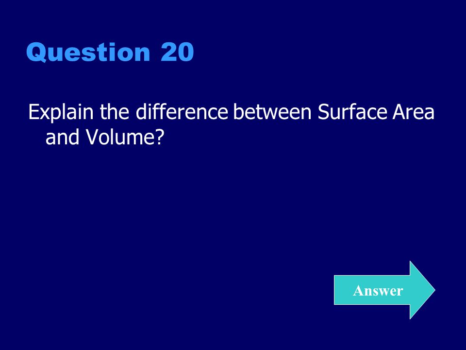 Question 20 Explain the difference between Surface Area and Volume