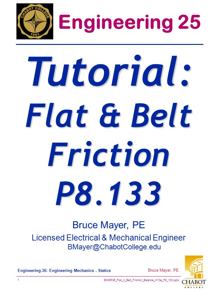 Tutorial: Flat & Belt Friction P8.133