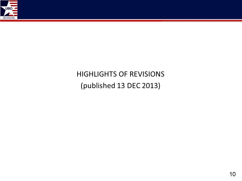 HIGHLIGHTS OF REVISIONS (published 13 DEC 2013)