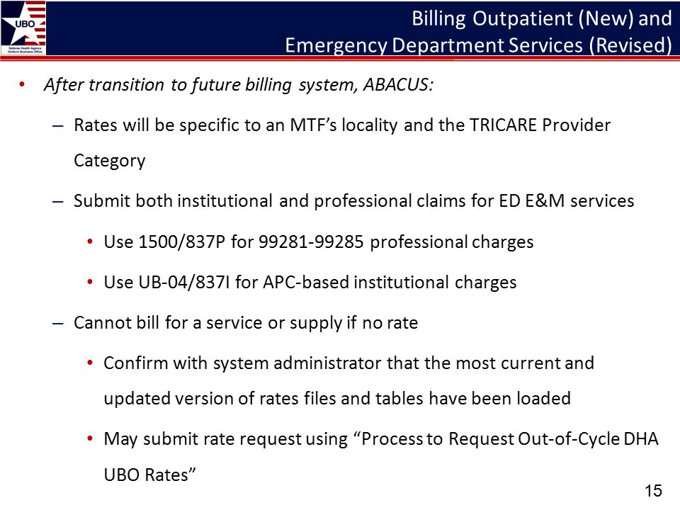 Billing Outpatient (New) and Emergency Department Services (Revised)