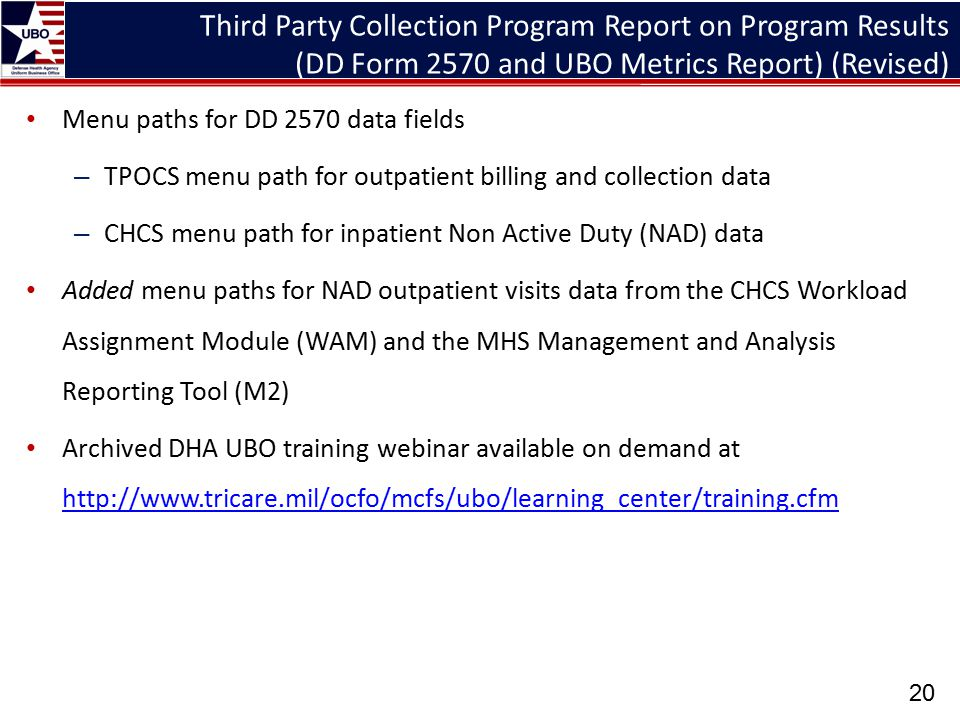 Third Party Collection Program Report on Program Results (DD Form 2570 and UBO Metrics Report) (Revised)