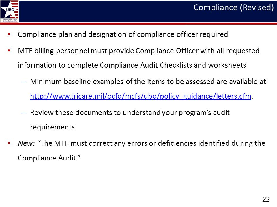 Compliance (Revised) Track x – xxx day – 0000-0000. Compliance plan and designation of compliance officer required.