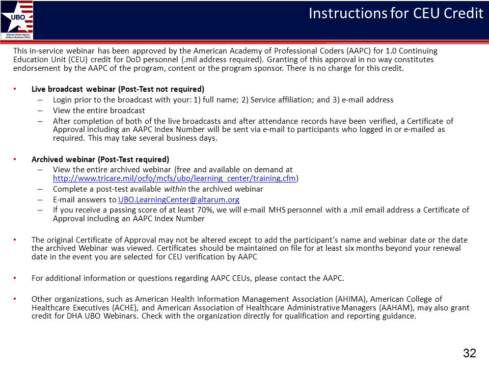 Instructions for CEU Credit