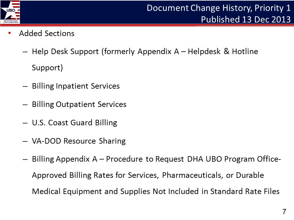 Document Change History, Priority 1 Published 13 Dec 2013
