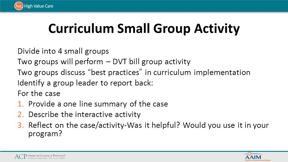 Curriculum Small Group Activity