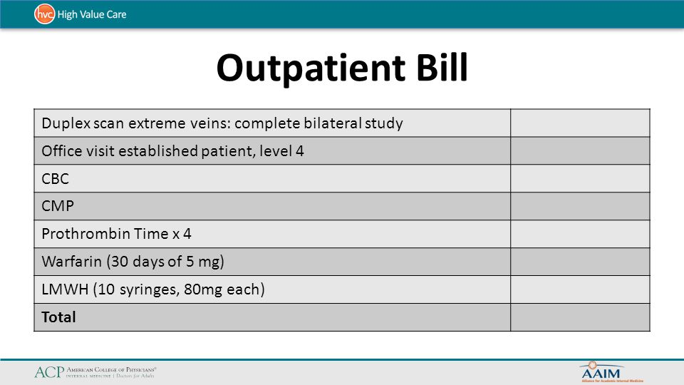 Outpatient Bill Duplex scan extreme veins: complete bilateral study