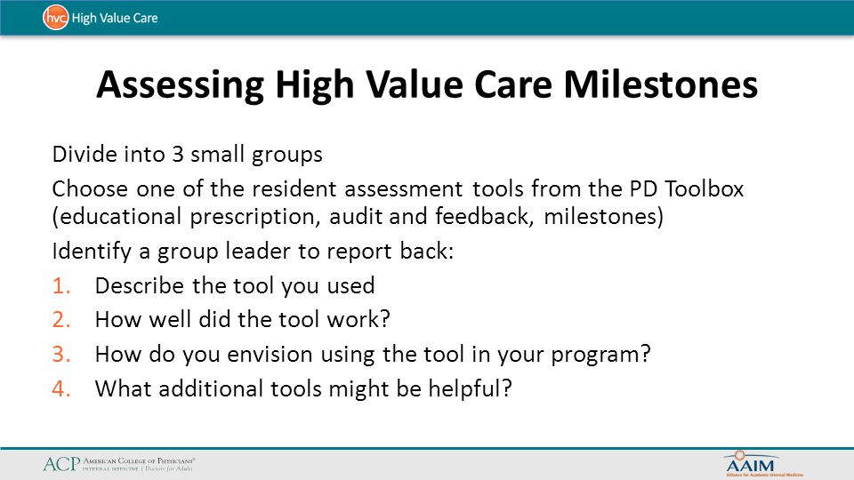 Assessing High Value Care Milestones