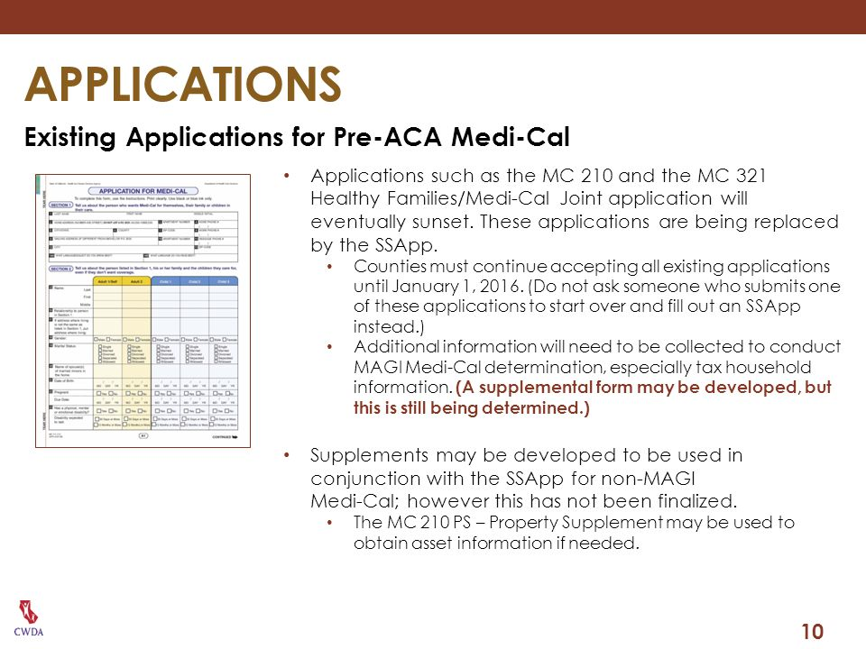 APPLICATIONS Existing Applications for Pre-ACA Medi-Cal 10