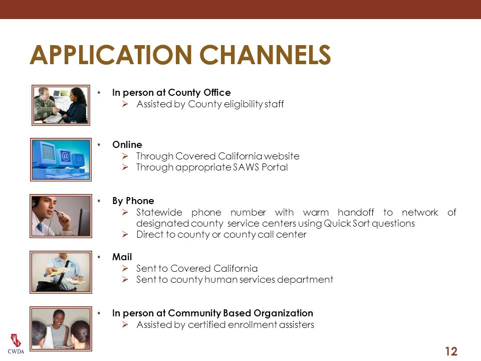 APPLICATION CHANNELS 12 In person at County Office