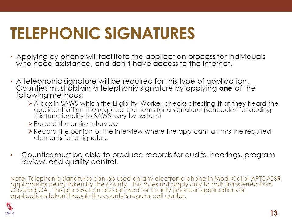 TELEPHONIC SIGNATURES