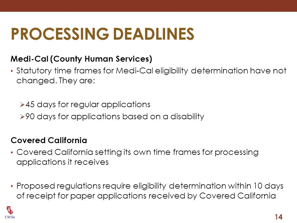 PROCESSING DEADLINES Medi-Cal (County Human Services)