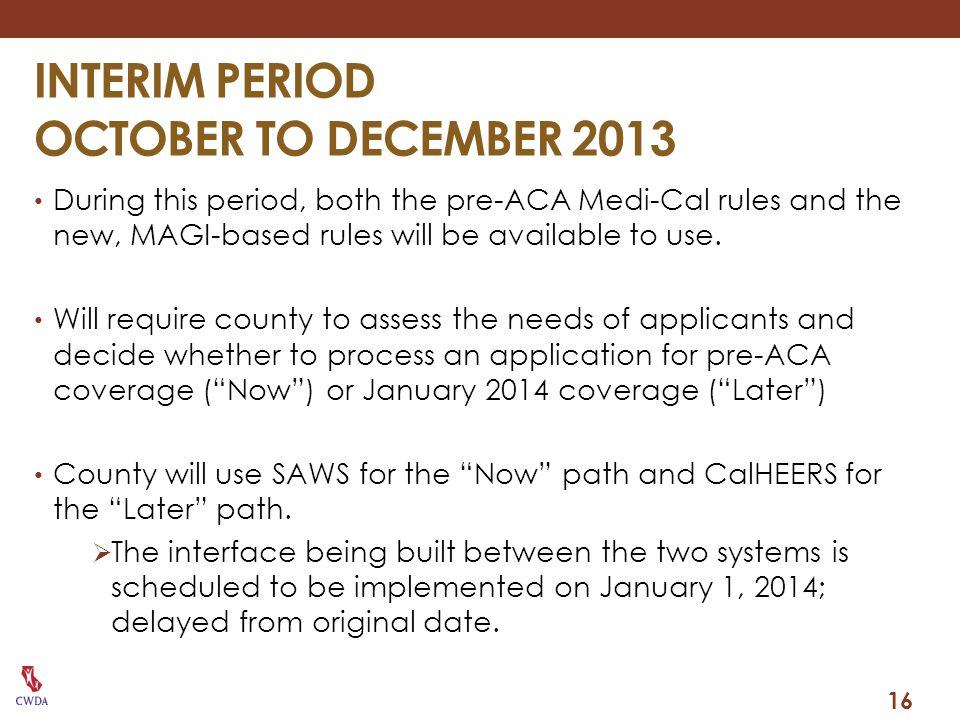 INTERIM PERIOD OCTOBER TO DECEMBER 2013