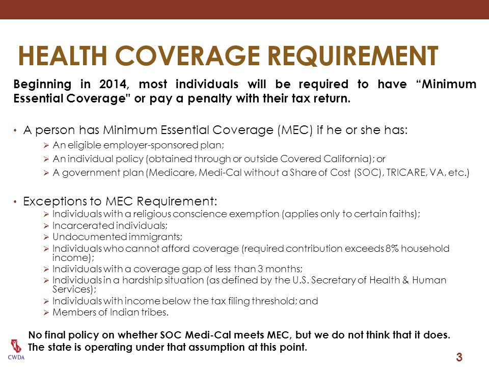 HEALTH COVERAGE REQUIREMENT