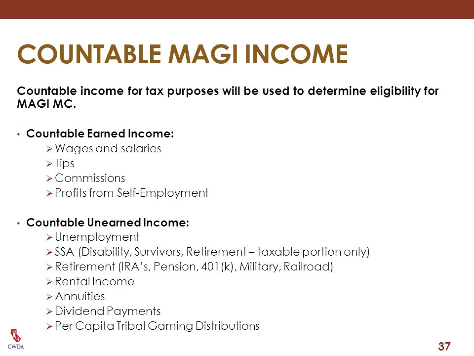 COUNTABLE MAGI INCOME Countable income for tax purposes will be used to determine eligibility for MAGI MC.
