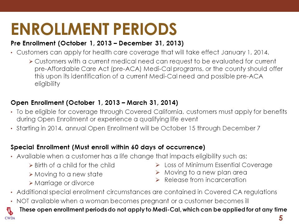 ENROLLMENT PERIODS Pre Enrollment (October 1, 2013 – December 31, 2013)