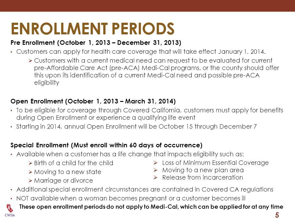 ENROLLMENT PERIODS Pre Enrollment (October 1, 2013 – December 31, 2013)