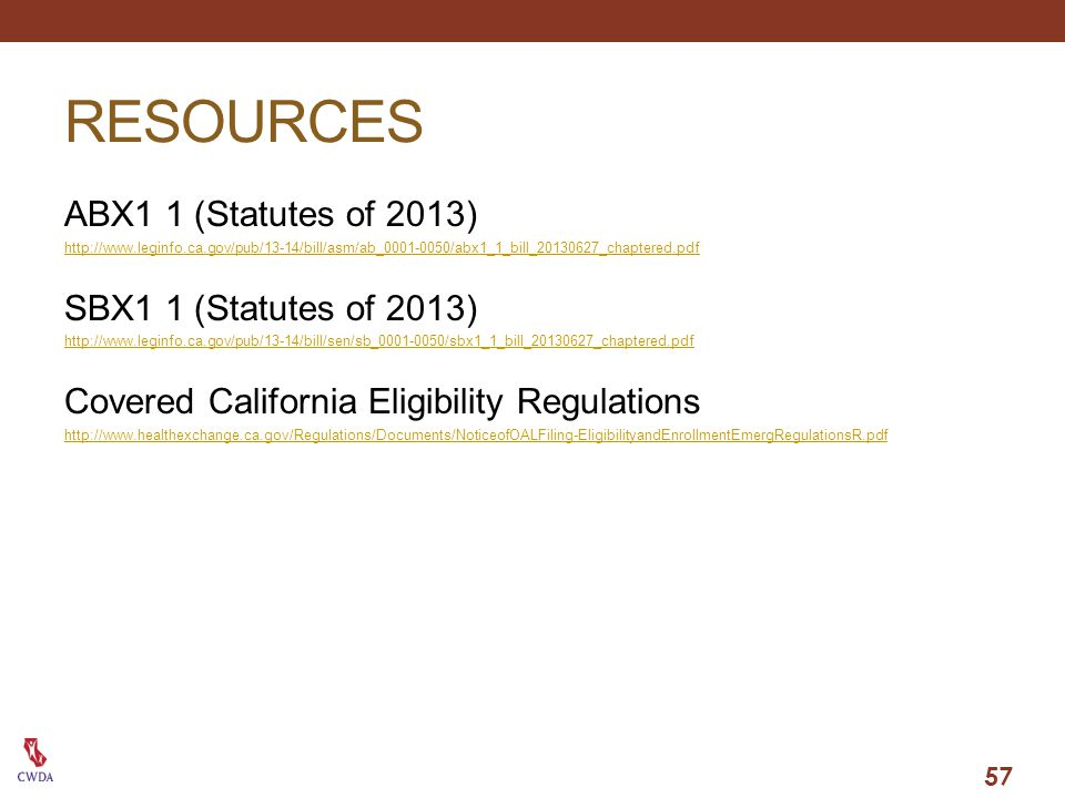RESOURCES ABX1 1 (Statutes of 2013) SBX1 1 (Statutes of 2013)
