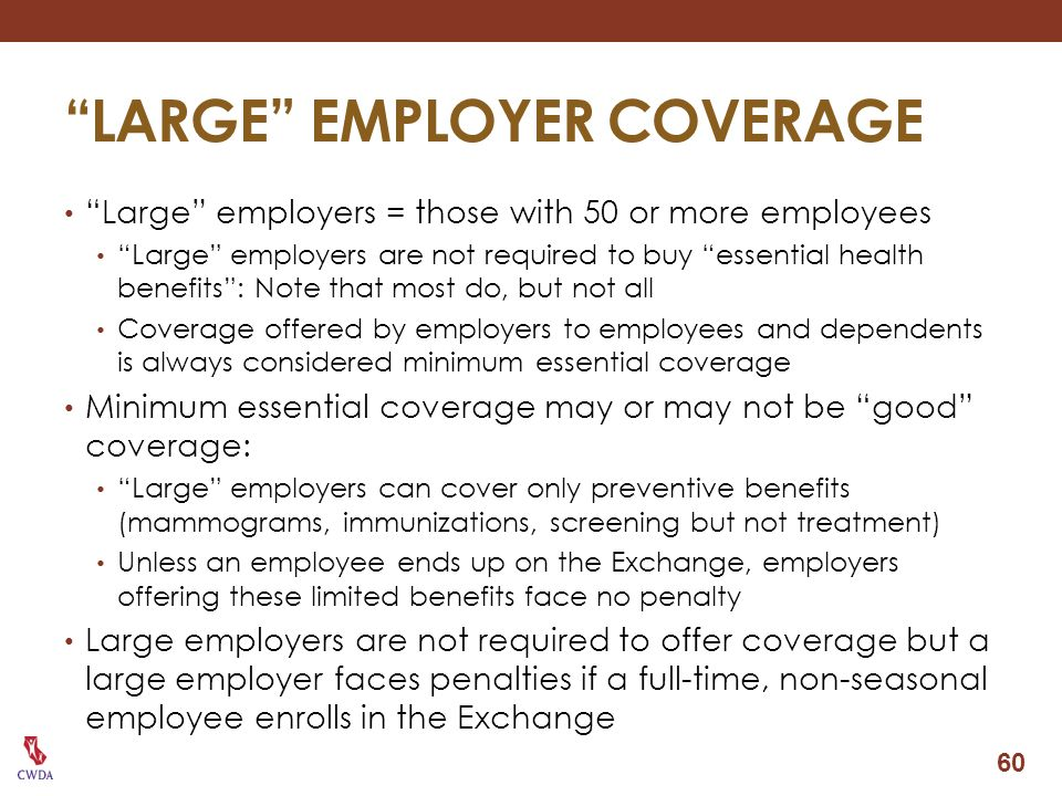 LARGE EMPLOYER COVERAGE