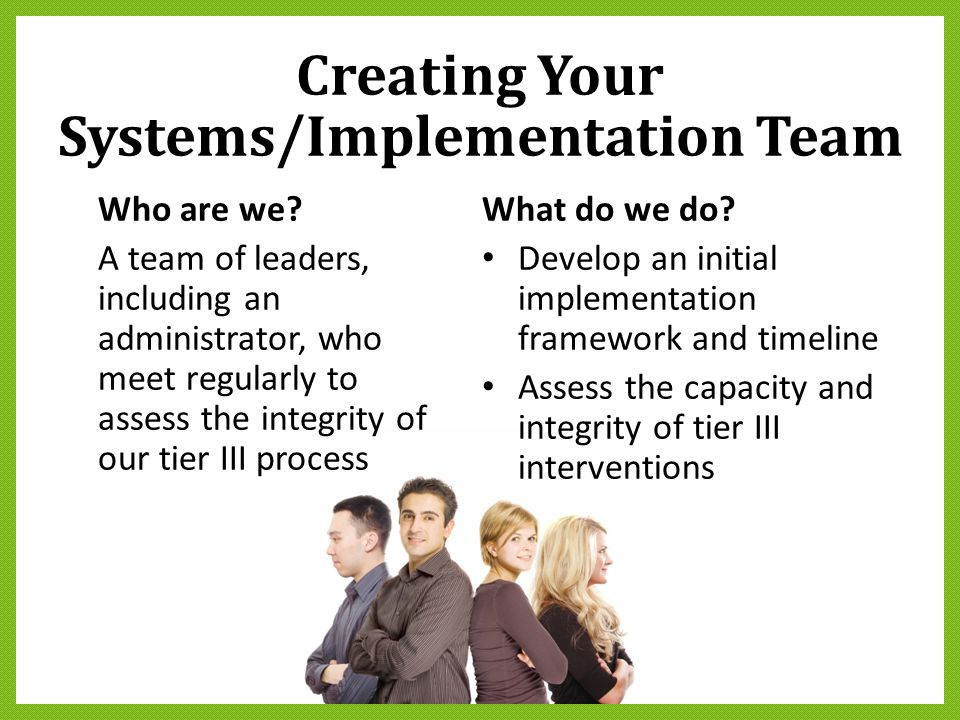 Creating Your Systems/Implementation Team