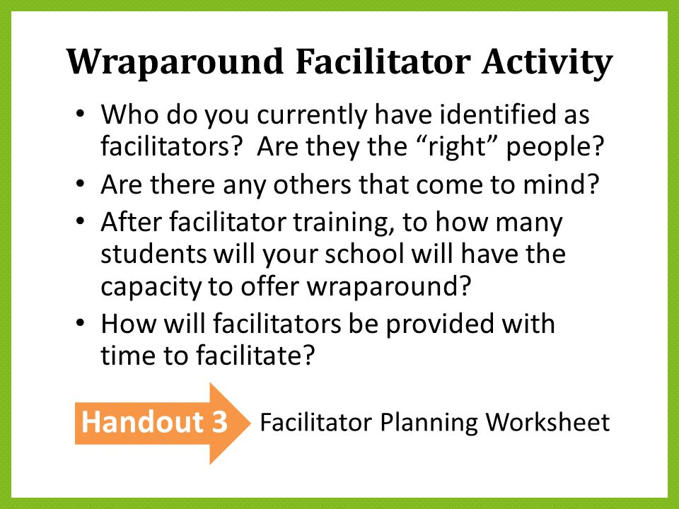 Wraparound Facilitator Activity