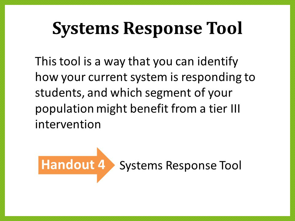 Systems Response Tool Handout 4