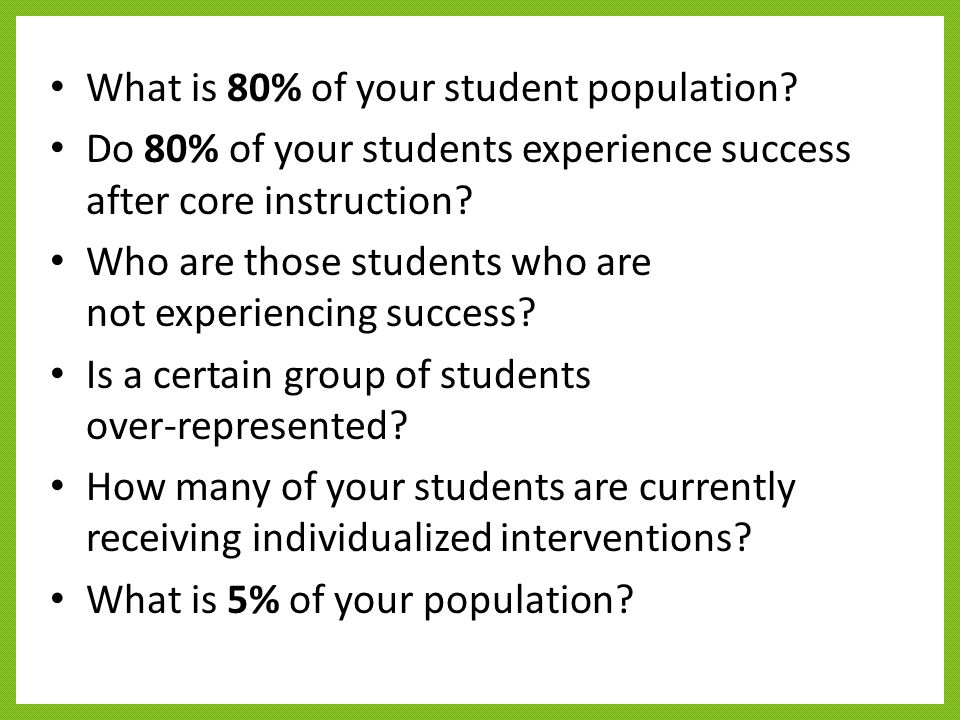 What is 80% of your student population