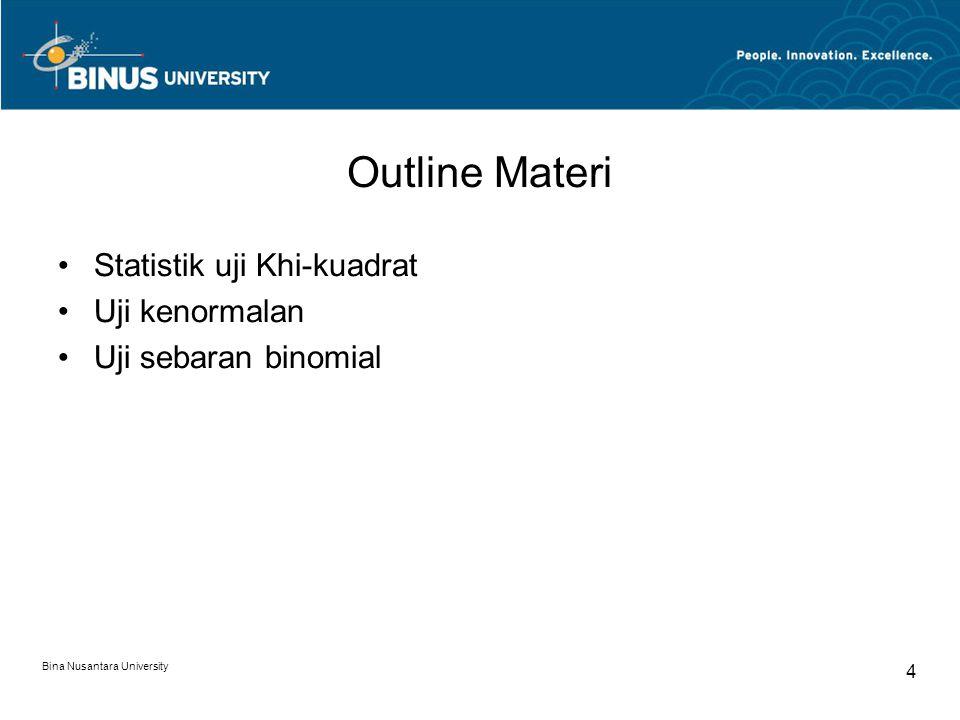 Outline Materi Statistik uji Khi-kuadrat Uji kenormalan